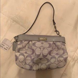 Silver Coach clutch bag NWT